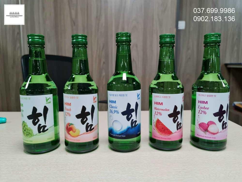 hình ảnh thực tế các loại rượu Soju HIM của Hàn Quốc